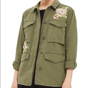 Topshop Floral Detail Olive Green Utility Jacket